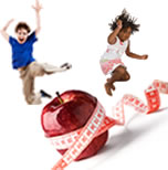 Kids jumping w apple and measuring tape